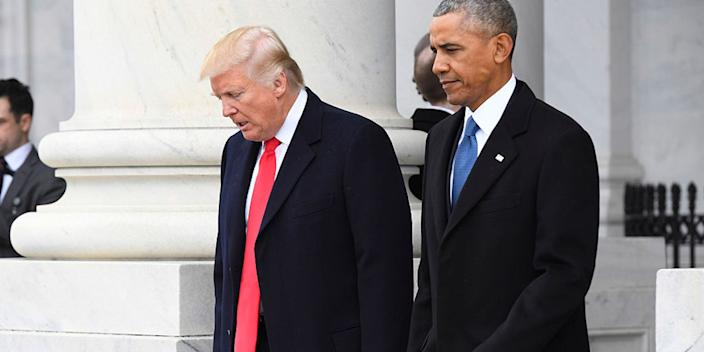 President Donald Trump and former President Barack Obama prior to Obama's departure during the 2017 presidential inauguration at the US Capitol January 20, 2017 in Washington, DC.
