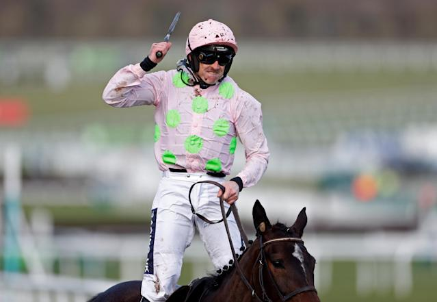 Horse Racing - Cheltenham Festival - Cheltenham Racecourse, Cheltenham, Britain - March 13, 2018 Ruby Walsh celebrates on Benie Des Dieux as he wins the 16:10 OLBG Mares' Hurdle Action Images via Reuters/Matthew Childs