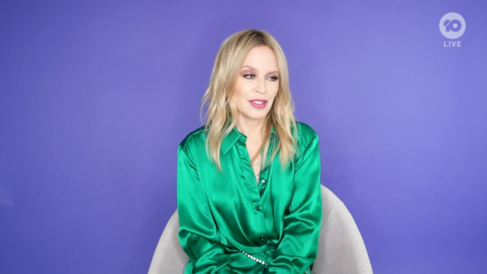 Kylie Minogue has opened up about her 'emotional ride' during lockdown in a Melbourne Cup interview. Photo: Channel 10.