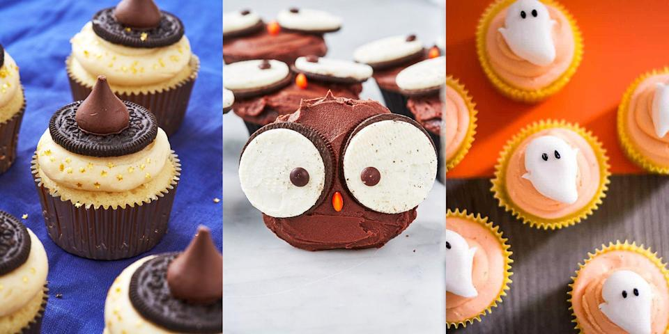 """<p>Fancy making some little monster <a href=""""https://www.delish.com/uk/cooking/recipes/g36428052/cupcake-recipes/"""" rel=""""nofollow noopener"""" target=""""_blank"""" data-ylk=""""slk:cupcakes"""" class=""""link rapid-noclick-resp"""">cupcakes</a> for your little monsters? We've got a bunch of adorable (and reasonably spooky) cupcake recipes that'll get the whole family involved! We're talking <a href=""""https://www.delish.com/uk/cooking/recipes/a28783737/owl-cupcakes-recipe/"""" rel=""""nofollow noopener"""" target=""""_blank"""" data-ylk=""""slk:Owl Cupcakes"""" class=""""link rapid-noclick-resp"""">Owl Cupcakes</a>, <a href=""""https://www.delish.com/uk/cooking/recipes/a29352281/chocolate-filled-pumpkins-recipe/"""" rel=""""nofollow noopener"""" target=""""_blank"""" data-ylk=""""slk:Pumpkin-Shaped Cupcakes"""" class=""""link rapid-noclick-resp"""">Pumpkin-Shaped Cupcakes</a> and even <a href=""""https://www.cookiedoughandovenmitt.com/frankenstein-cupcakes/"""" rel=""""nofollow noopener"""" target=""""_blank"""" data-ylk=""""slk:Frankenstein Cupcakes"""" class=""""link rapid-noclick-resp"""">Frankenstein Cupcakes</a> (a-huh, Frankenstein!). To get into the scary spirit, take a look at some of our favourite Halloween cupcakes now. </p>"""