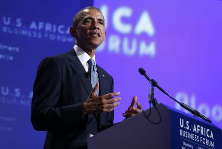 U.S. President Barack Obama talks at the U.S.-Africa Business Forum about strengthening trade and financial ties between the U.S. and Africa while in Washington