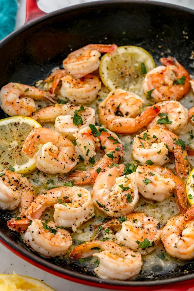 """<p>Lemon, garlic, and shrimp go hand in hand.</p><p>Get the recipe from <a rel=""""nofollow"""" href=""""https://www.delish.com/cooking/recipe-ideas/recipes/a55657/easy-lemon-garlic-shrimp-recipe/"""">Delish</a>.</p><p><em><strong>BUY NOW: Le Creuset Cast-Iron 12"""" Skillet, $200; </strong></em><em><strong><a rel=""""nofollow"""" href=""""https://www.amazon.com/Creuset-Signature-Handle-Skillet-4-Inch/dp/B00B4UOTBQ/"""">amazon.com</a>.</strong></em><br></p>"""