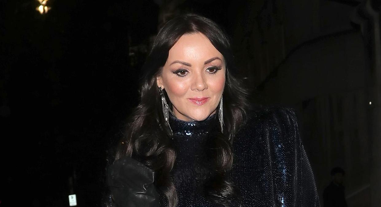Martine McCutcheon wowed in a pair of stylish black leather trousers for filming. (Getty images)