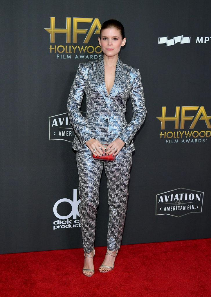 <p>Mara brought her suit look to the next level, wearing one with a metallic print. (Photo: Getty Images) </p>