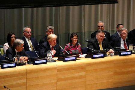 U.S. President Donald Trump speaks at United Nations Global Call to Action on the World Drug Problem during the 73rd United Nations General Assembly in New York