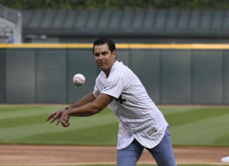 CHICAGO, ILLINOIS - JULY 23: MLB executive Billy Bean throws out a ceremonial first pitch before the game between the Chicago White Sox and the Miami Marlins at Guaranteed Rate Field on July 23, 2019 in Chicago, Illinois. (Photo by David Banks/Getty Images)