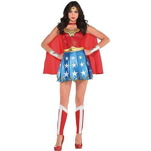 """<p><strong>See All Wonder Woman Costumes</strong></p><p>partycity.com</p><p><strong>$49.99</strong></p><p><a href=""""https://www.partycity.com/adult-wonder-woman-costume-P750754.html"""" rel=""""nofollow noopener"""" target=""""_blank"""" data-ylk=""""slk:Shop Now"""" class=""""link rapid-noclick-resp"""">Shop Now</a></p><p>For a more classic twist on the modernized Wonder Woman costume, revisit the OG uniform inspired by the one Lynda Carter wore in the 1970s. </p>"""