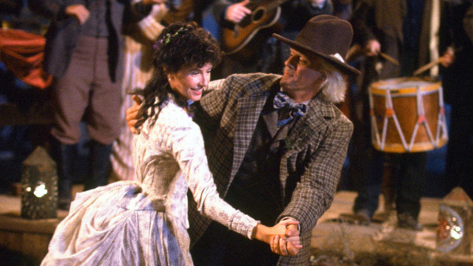Mary Steenburgen and Christopher Lloyd hit the dancefloor in 'Back to the Future Part III'. (Credit: Universal)