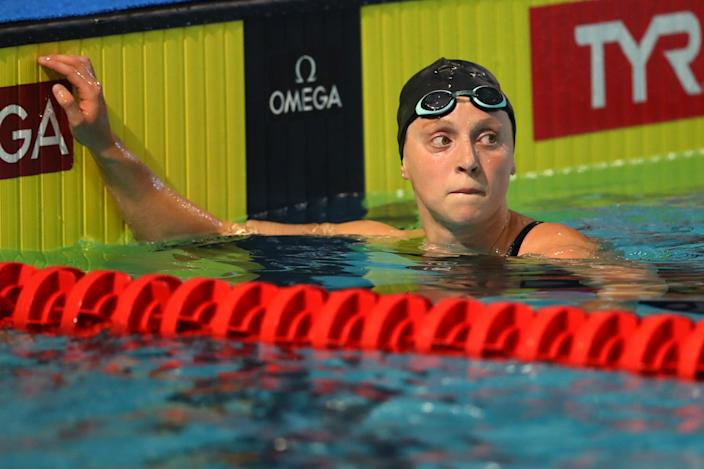Katie Ledecky, who has won five Olympic gold medals, is preparing as if the Games next summer are going to happen as planned. (Maddie Meyer/Getty Images)