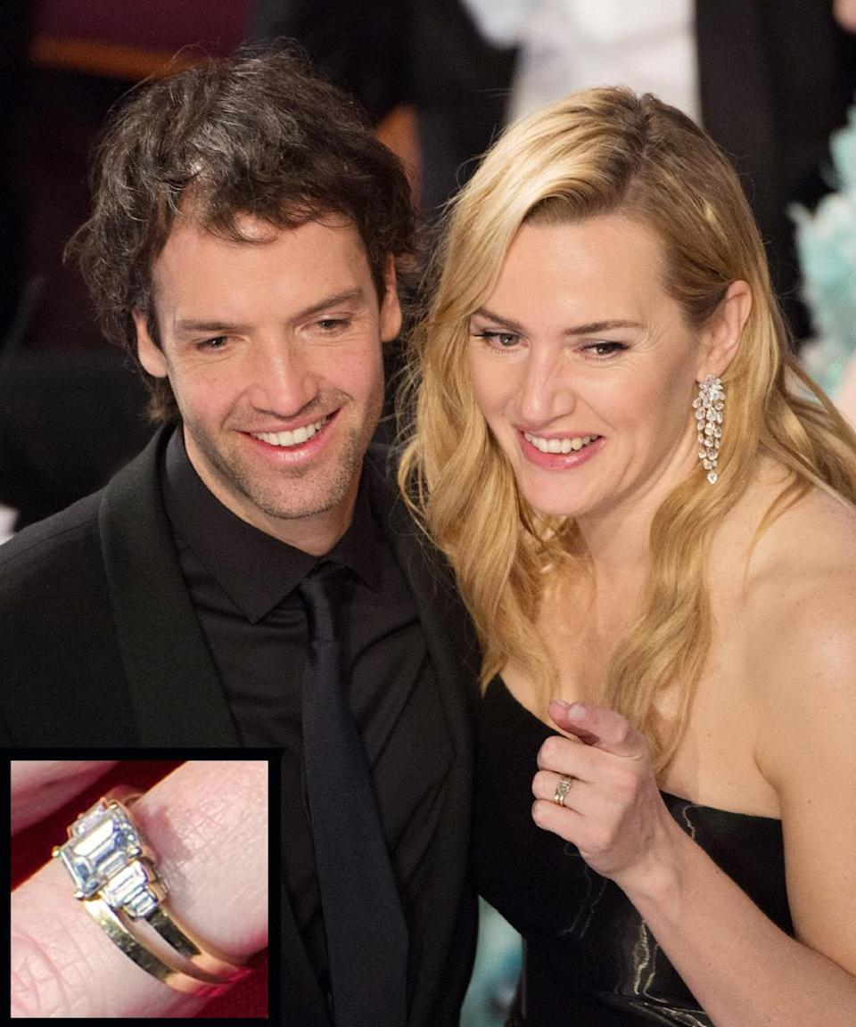 <p>Ned Rocknroll proposed to actress Kate Winslet with a gold-band ring. They were married in a secret New York City ceremony in December 2012.</p>