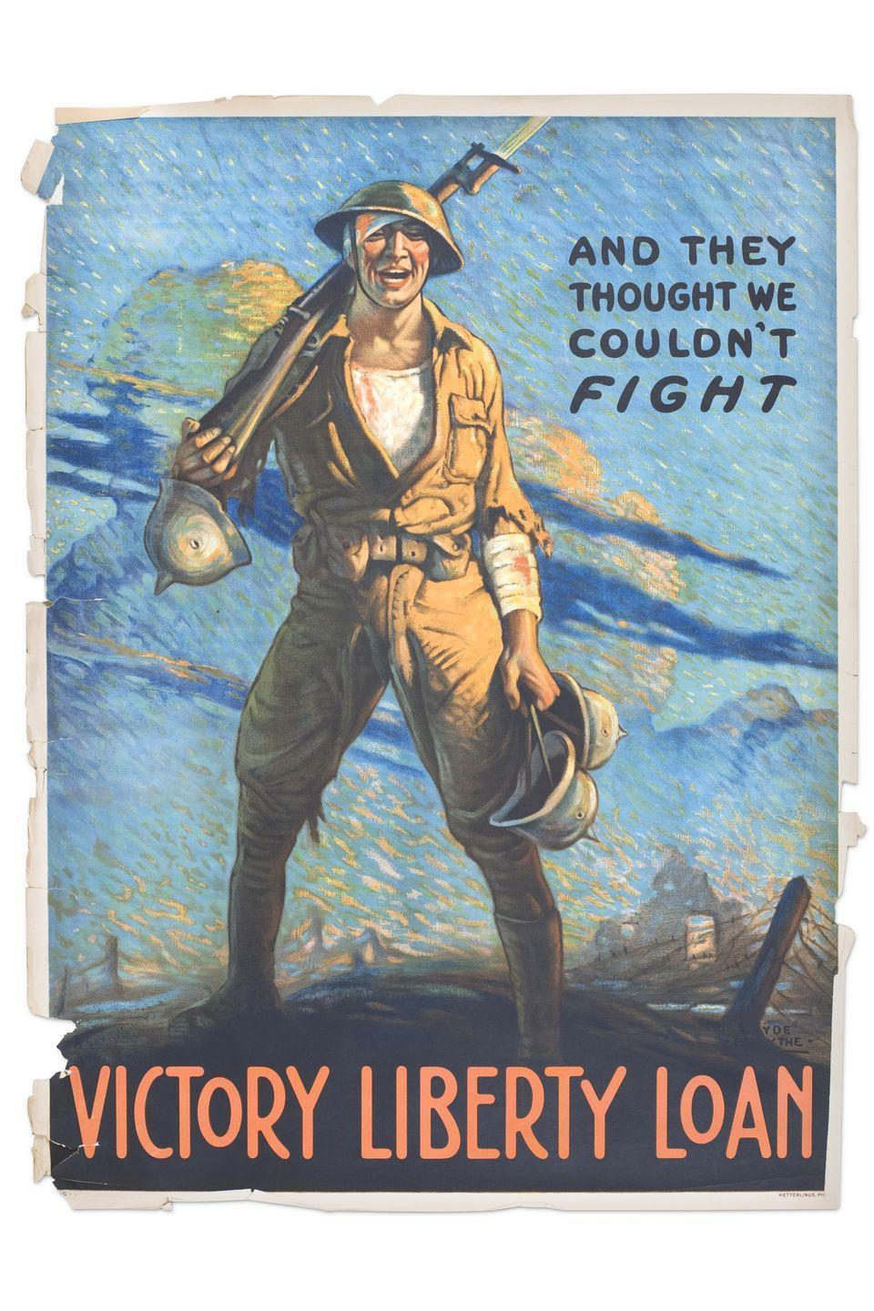 <p><strong>What it was worth (2001):</strong> $1,000</p><p><strong>What it's worth now:</strong> $500</p><p>This poster from World War I was likely an advertisement for war bonds.</p>