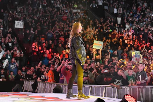 Ronda Rousey shocked the Philadelphia crowd by making her WWE debut at the Royal Rumble on Sunday.