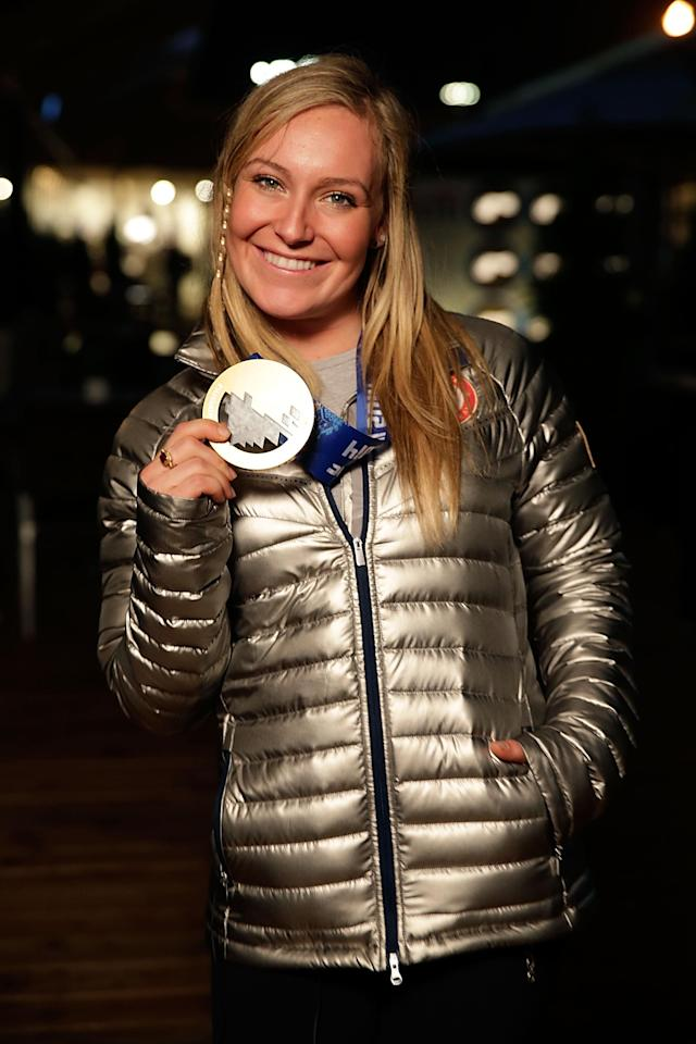 SOCHI, RUSSIA - FEBRUARY 09: U.S. Olympian and gold medalist Jamie Anderson visits the USA House in the Olympic Village on February 9, 2014 in Sochi, Russia. (Photo by Joe Scarnici/Getty Images for USOC)