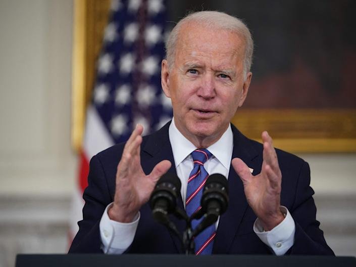 <p>US President Joe Biden speaks about the March jobs report in the State Dining Room of the White House in Washington, DC</p> (AFP via Getty Images)