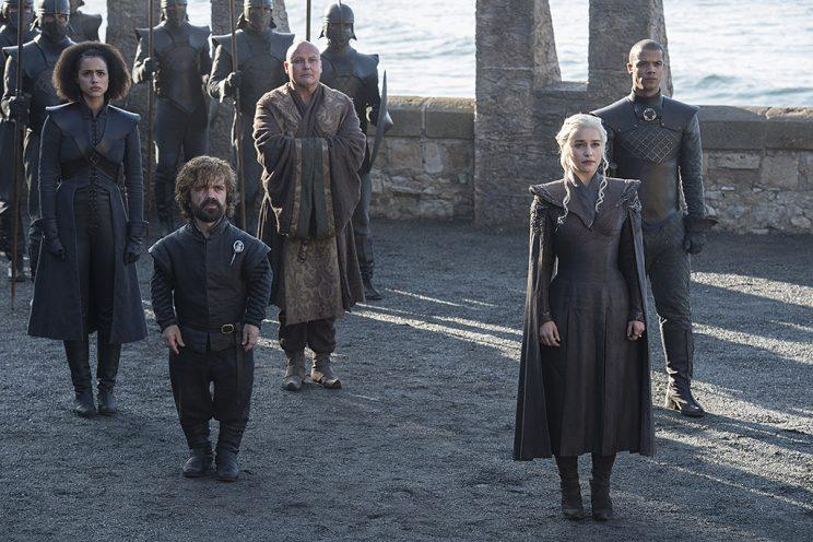 Nathalie Emmanuel as Missandei, Peter Dinklage as Tyrion Lannister, Conleth Hill as Lord Varys, Emilia Clarke as Daenerys Targaryen and Jacob Anderson as Grey Worm in HBO's Game of Thrones . (Photo Credit: HBO)