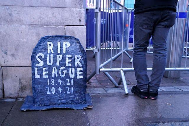 Chelsea fans place a grave headstone outside the ground which reads RIP Super League