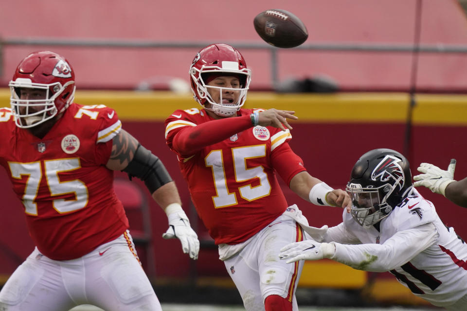 BetMGM will be rooting against the Kansas City Chiefs and quarterback Patrick Mahomes to win the Super Bowl. (AP Photo/Charlie Riedel)
