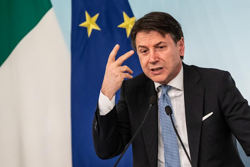 Prime Minister Giuseppe Conte speaks during a press conference at Palazzo Chigi after the Council of Ministers meeting. (Photo by Cosimo Martemucci / SOPA Images/Sipa USA)