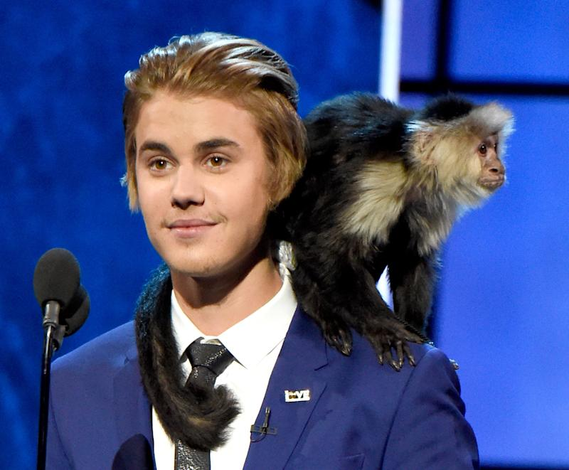 Fully embracing his roast at Comedy Central, Bieber matched his hair to his monkey's. (To be clear, this is not OG Mally, Bieber's pet monkey who was infamously confiscated by the German authorities, and who is still a resident of a German zoo—and still having trouble communicating with other monkeys.)