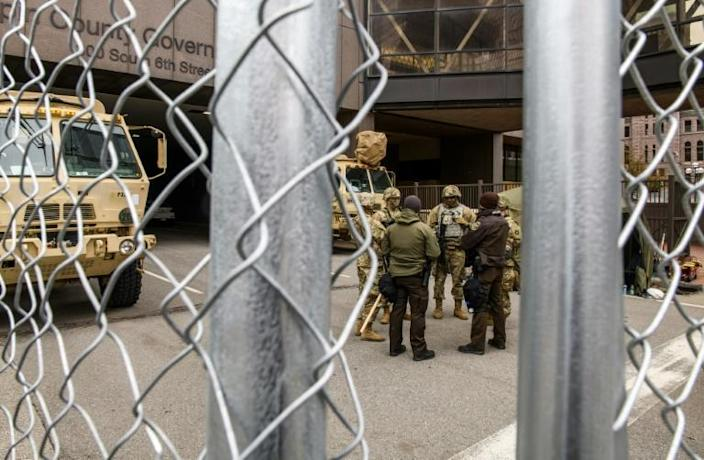Law enforcement and National Guard members outside the Hennepin County Government Center on April 19, 2021 in Minneapolis, Minnesota as the trial fo Derek Chauvin draws to a close