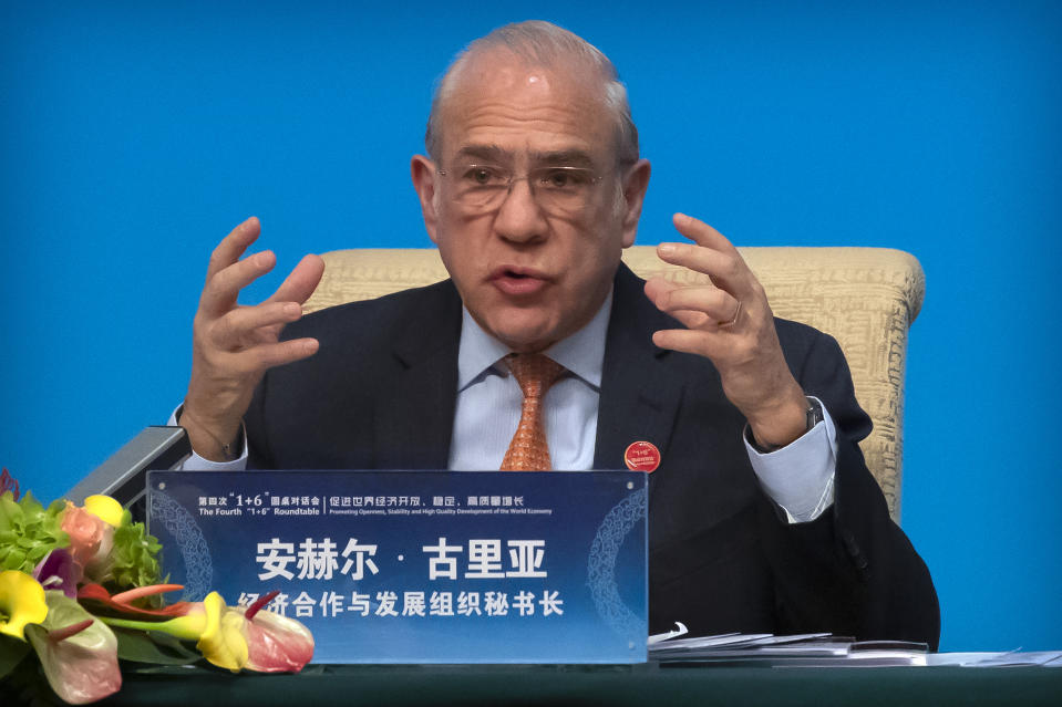 Organization for Economic Cooperation and Development (OECD) Secretary-General Angel Gurria speaks during a press conference for the the Fourth 1+6 Roundtable Dialogue at the Diaoyutai State Guesthouse in Beijing, Thursday, Nov. 21, 2019. (AP Photo/Mark Schiefelbein)