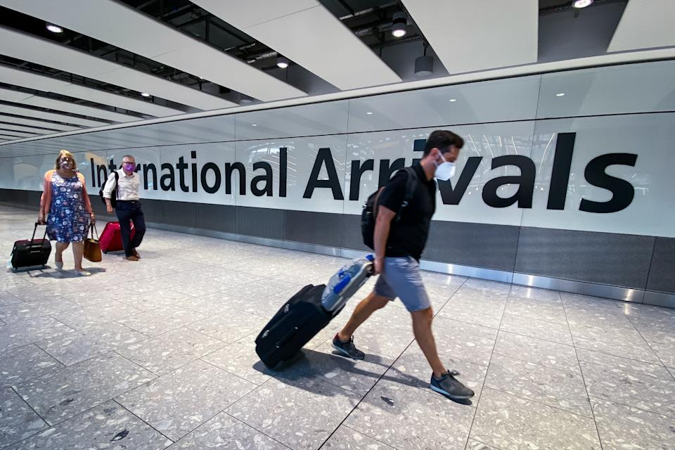 Passengers in the arrivals hall at Heathrow Airport, London, after a flight from Croatia landed. The UK government announced that from 4am on Saturday travellers arriving in the UK from Croatia, Austria and Trinidad and Tobago will have to quarantine for 14 days on arrival.