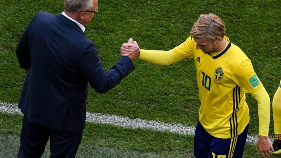 Emil Forsberg e Janne Andersson | GABRIEL BOUYS/Getty Images