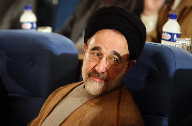 Iran has blocked two news websites after they published reports and photos of former Iranian president Mohammad Khatami, pictured here in Tehran on October 16, 2008
