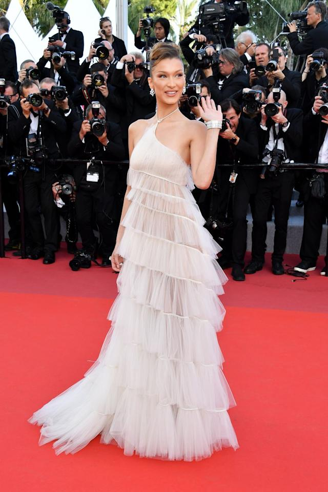 <p>This layered tulle dress that Bella wore to the Cannes Film Festival seriously made her look like a fairy godmother come to life—all she's missing is a sparkly wand!</p>