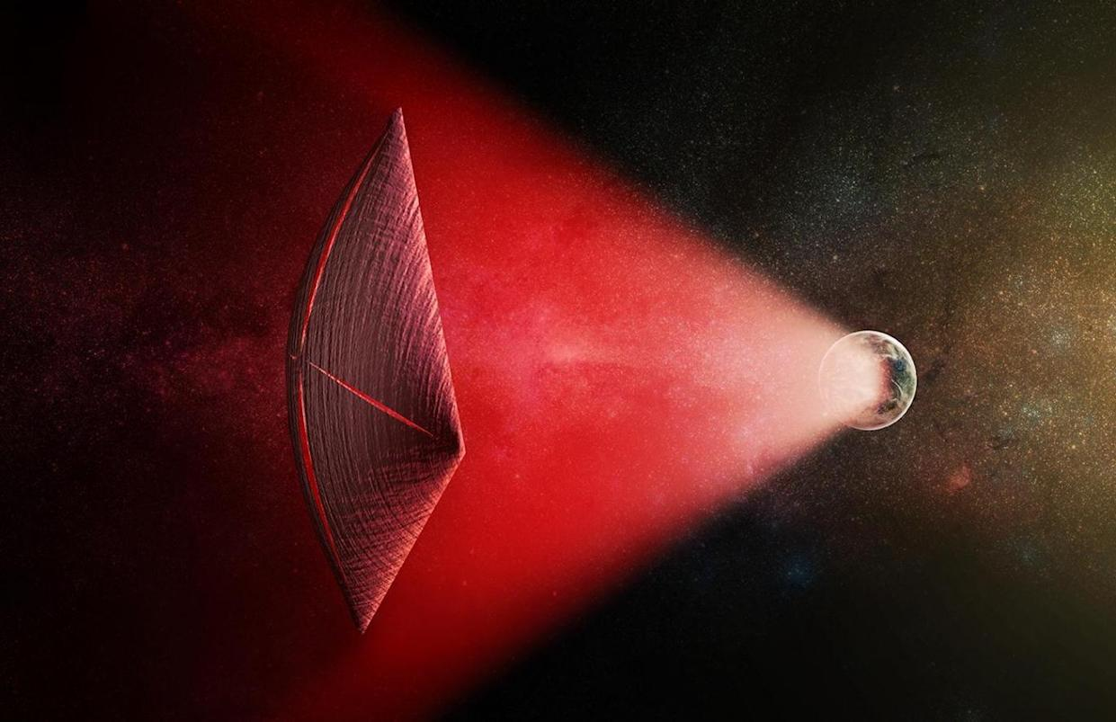 Artist's impression of a light-sail powered by a radio beam generated on the surface of a planet. Leakage from such beams could explain fast radio bursts (M.Weiss/CfA)