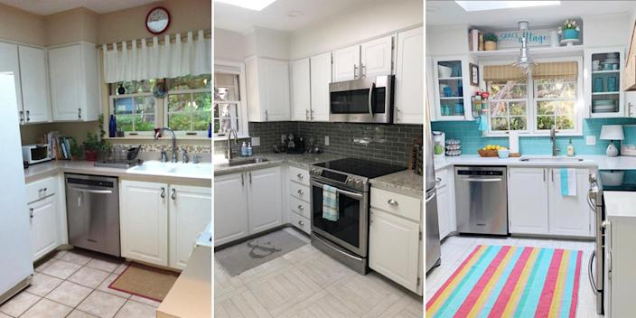 The evolution of Osborn's kitchen: After they first purchased the house in 2014, the original kitchen (left) needed some work. They then did a small remodel in 2015 with new counters and a gray subway tile backsplash (middle), and finally went for a bolder blue backsplash in 2020 (right). (Courtesy Ann Osborn)
