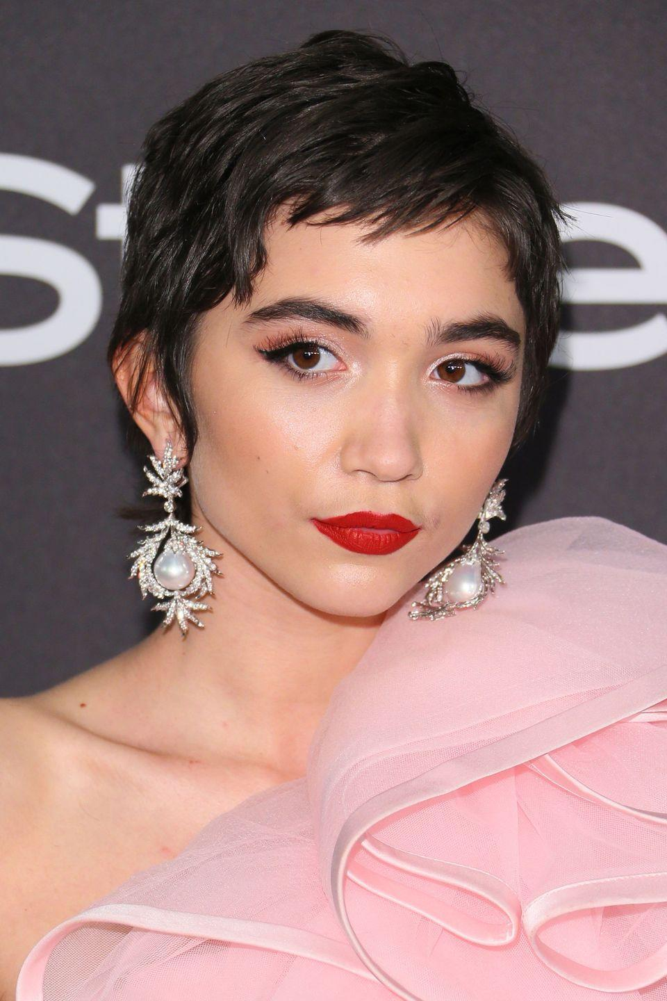 <p>The actress debuted a new super short crop at this year's Golden Globes after party.</p>