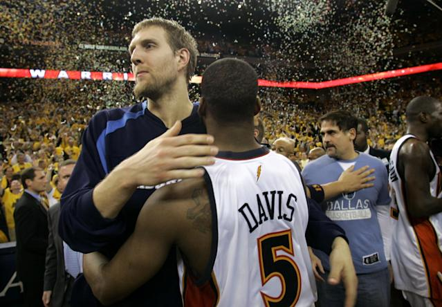 <p>The 8th-seeded, Baron David-led Warriors' series win over the top-seeded Mavericks in the first round in 2007 is rated as the biggest upset in playoff history, according to Basketball-Reference's team strength metrics. Adding to the shock value of the upset, the Mavs won 67 games that year and were seemingly rolling with MVP Dirk Nowitzki leading the charge. </p>