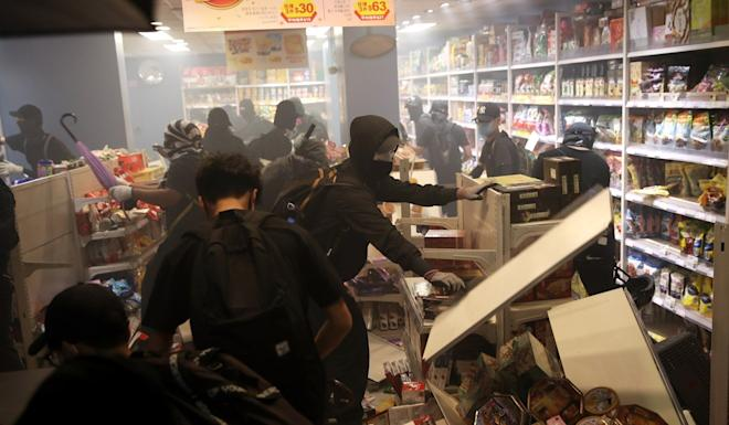 Protesters trash a Best Mart 360 store in Yau Ma Tei. Photo: Winson Wong