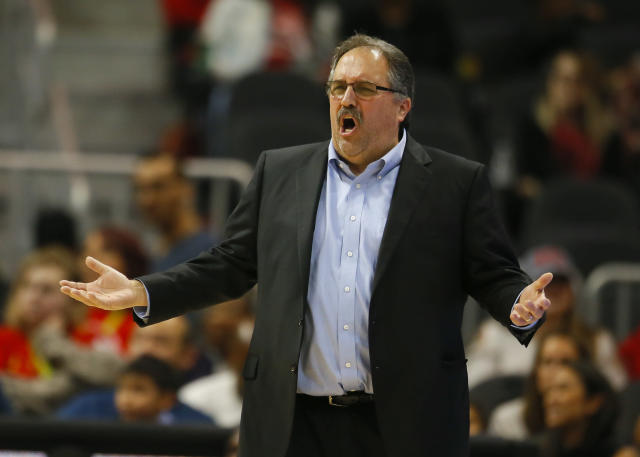 "<a class=""link rapid-noclick-resp"" href=""/nba/teams/det/"" data-ylk=""slk:Detroit Pistons"">Detroit Pistons</a> head coach Stan Van Gundy reacts in the first half of an NBA basketball game against the <a class=""link rapid-noclick-resp"" href=""/nba/teams/atl/"" data-ylk=""slk:Atlanta Hawks"">Atlanta Hawks</a> on Sunday, Feb. 11, 2018, in Atlanta. (AP Photo/Todd Kirkland)"