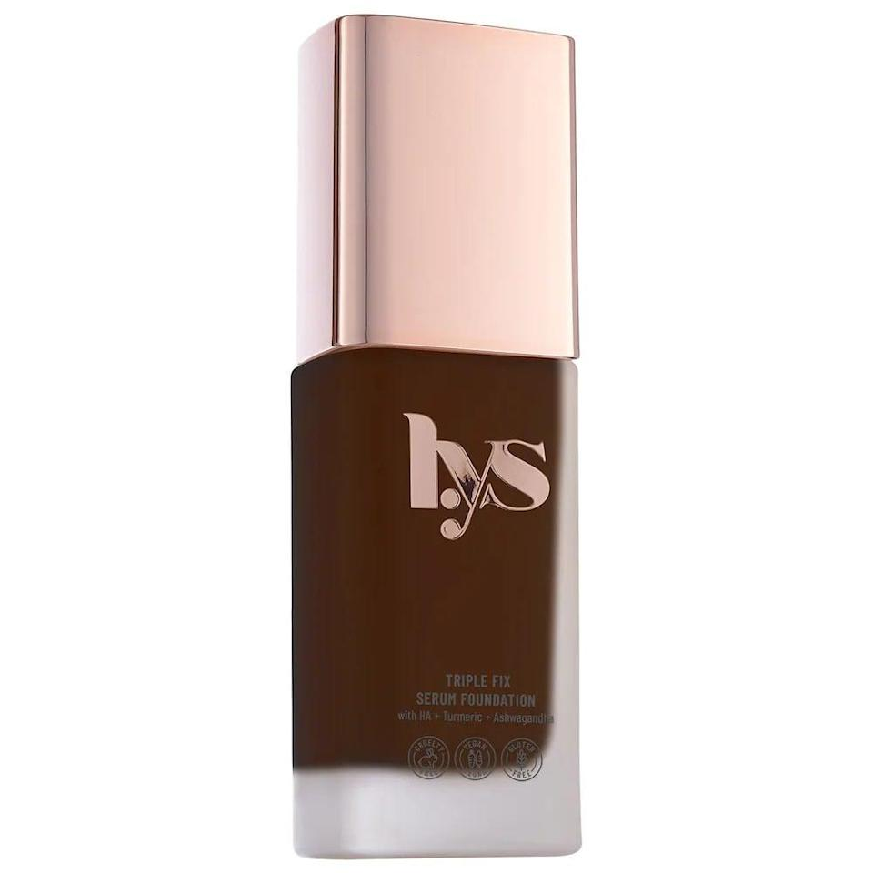 <p>The <span>LYS Beauty Triple Fix Clean Foundation with Hyaluronic Acid</span> ($22) is a hdyrating yet lightweight formula that has buildable light-to-medium coverage. It has a natual skin-like finish and contains skin-loving ingredients such as ashwagandha, turmeric and hyaluronic acid.</p>