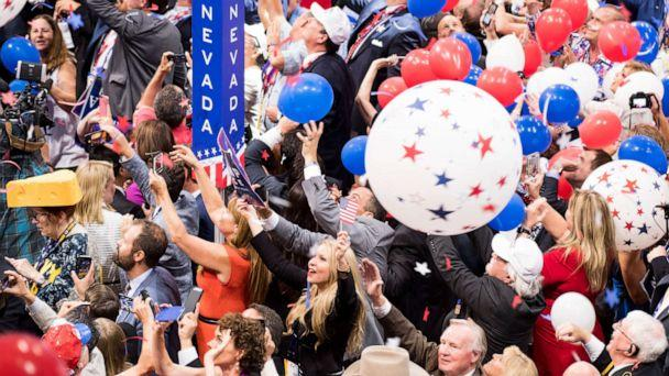 PHOTO: Delegates celebrate as balloons drop from the rafters after Donald Trump accepted the GOP nomination for President of the United States at the 2016 Republican National Convention, in Cleveland, July 21, 2016. (Bill Clark/CQ-Roll Call, Inc via Getty Images)