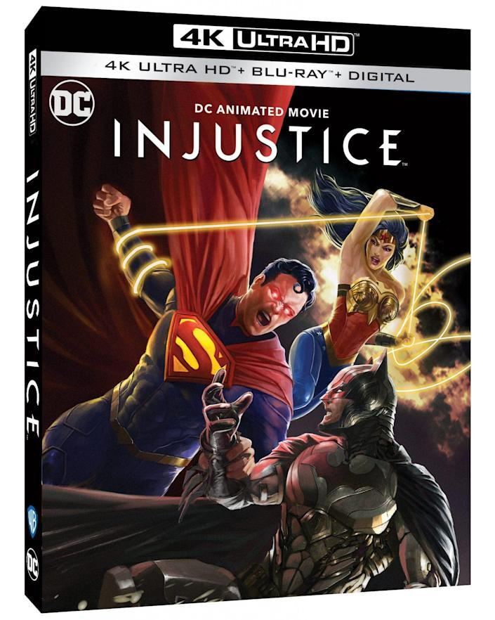 Injustice Blu-ray cover art.