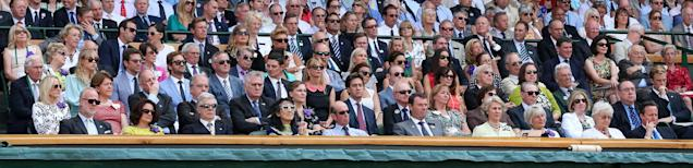 LONDON, ENGLAND - JULY 07: A general view of the Royal Box on Centre court during the Gentlemen's Singles Final match between Andy Murray of Great Britain and Novak Djokovic of Serbia on day thirteen of the Wimbledon Lawn Tennis Championships at the All England Lawn Tennis and Croquet Club on July 7, 2013 in London, England. (Photo by Clive Brunskill/Getty Images)