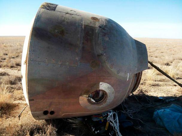PHOTO: In this photo provided by Russian Defense Ministry Press Service, the Soyuz MS-10 space capsule lays in a field after an emergency landing near Dzhezkazgan, about 450 kilometers (280 miles) northeast of Baikonur, Kazakhstan, Oct. 11, 2018. (Russian Defense Ministry Press Service photo via AP)