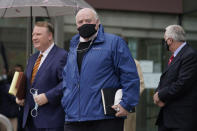 Michael Skakel leaves a courthouse in Stamford, Conn., Friday, Oct. 30, 2020. A Connecticut prosecutor says the Kennedy cousin will not face a second trial in the 1975 murder of teenager Martha Moxley in Greenwich. Chief State's Attorney Richard Colangelo Jr. made the announcement Friday at the state courthouse in Stamford. (AP Photo/Seth Wenig)