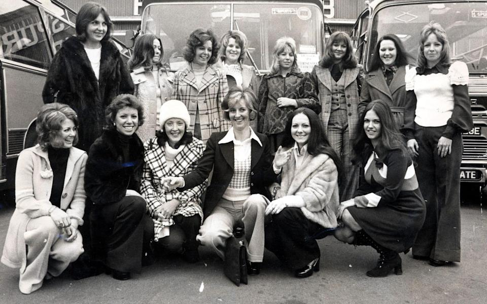 Tottenham Hotspur Fc Players Wives Pictured Outside White Hart Lane Prior To Leaving For Wembley For The League Cup Final V Norwich. L-r: Back Row: Gwen England (mrs Mike England) Carol Chivers (mrs Martin Chivers) Sandra Evans (mrs Ray Evans) The Club Doctor's Wife Marilyn Morgan (mrs Roger Morgan) Deborah Burke (mike Dillon's Girlfriend) Linda Naylor (mrs Terry Naylor) & Sheila Neighbour (mrs Jimmy Neighbour). Front Row: Marie Pratt (mrs John Pratt) Bonnie Arnold (joe Kinnear's Girlfriend) Valerie Beal (mrs Phil Beal) Kathleen Peters (mrs Martin Peters) Eleanor Jennings (mrs Pat Jennings) And Sandra Coates (mrs Ralph Coates) - SHUTTERSTOCK