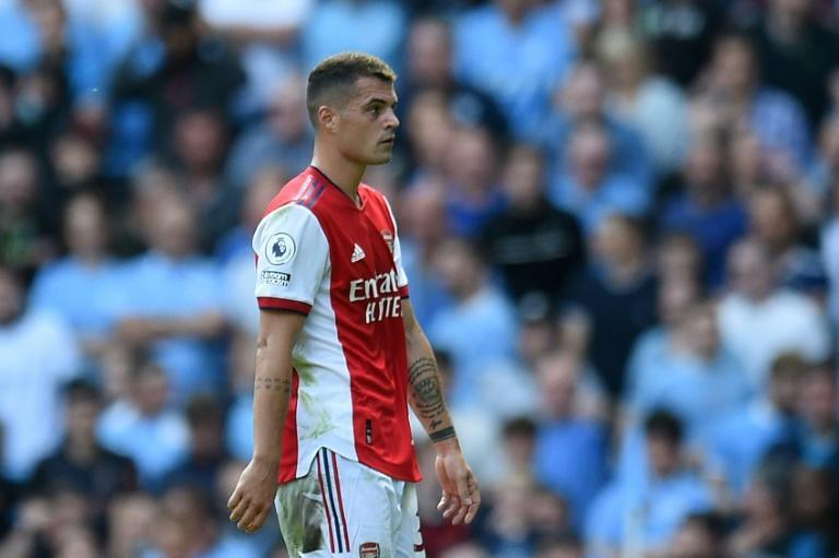 Arsenal's Granit Xhaka was sent-off in a 5-0 thrashing at the hands of Manchester City (AFP/Oli SCARFF)
