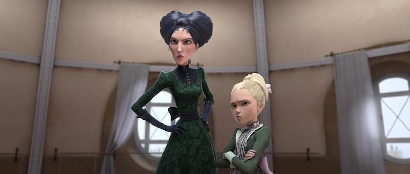 "In ""Leap!,"" Kate McKinnon voices the wicked Régine, pictured on the left, next to Maddie Ziegler's Camille Le Haut."