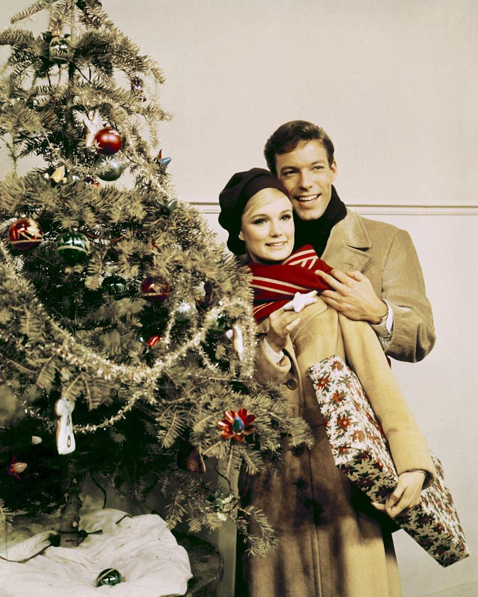 <p>The actor bundled up in a tan corduroy peacoat and a black scarf for a promotional photoshoot with his <em>Joy in the Morning</em> costar, Yvette Mimieux. </p>