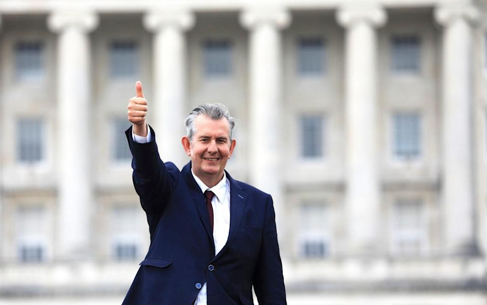 Edwin Poots gives the thumbs up outside Parliament buildings after being elected as the new party leader on May 14 - Peter Morrison/AP
