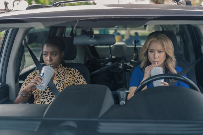 Queenpins is a crime comedy starring Kristen Bell and Kirby Howell-Baptiste as Connie Kaminski and JoJo Johnson. (Photo: Michael Desmond/STX Films)