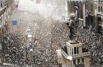 <p>A celebration in Philadelphia USA on November 11th 1918 as the armistice is announced, bringing the First World War to an end (Royston Leonard / Media Drum World / Caters News) </p>
