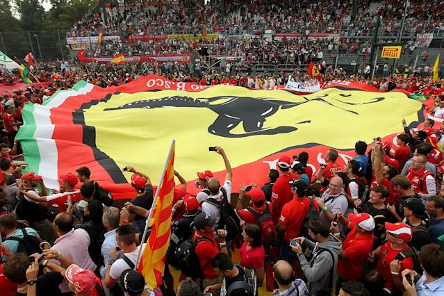 A view of the Tifosi supporting Ferrari during the Italian Grand Prix and the Autodromo Nazionale Monza, Monza, Italy.