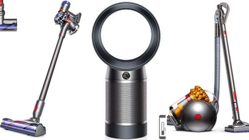 Dyson cordless on the left, a Dyson fan in the centre, and a Dyson Big Ball vacuum cleaner on the right.